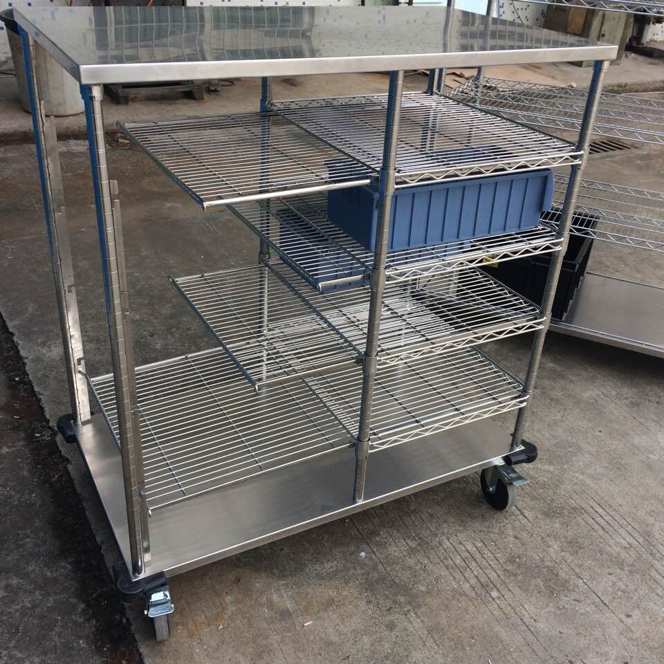 Stainless steel shelving trolley for Box